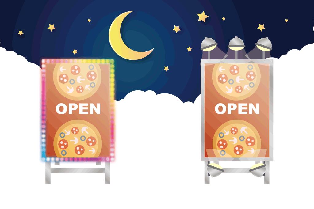 屋外で利用する看板にライトをつけたい方必見!長持ちさせる方法も解説します!